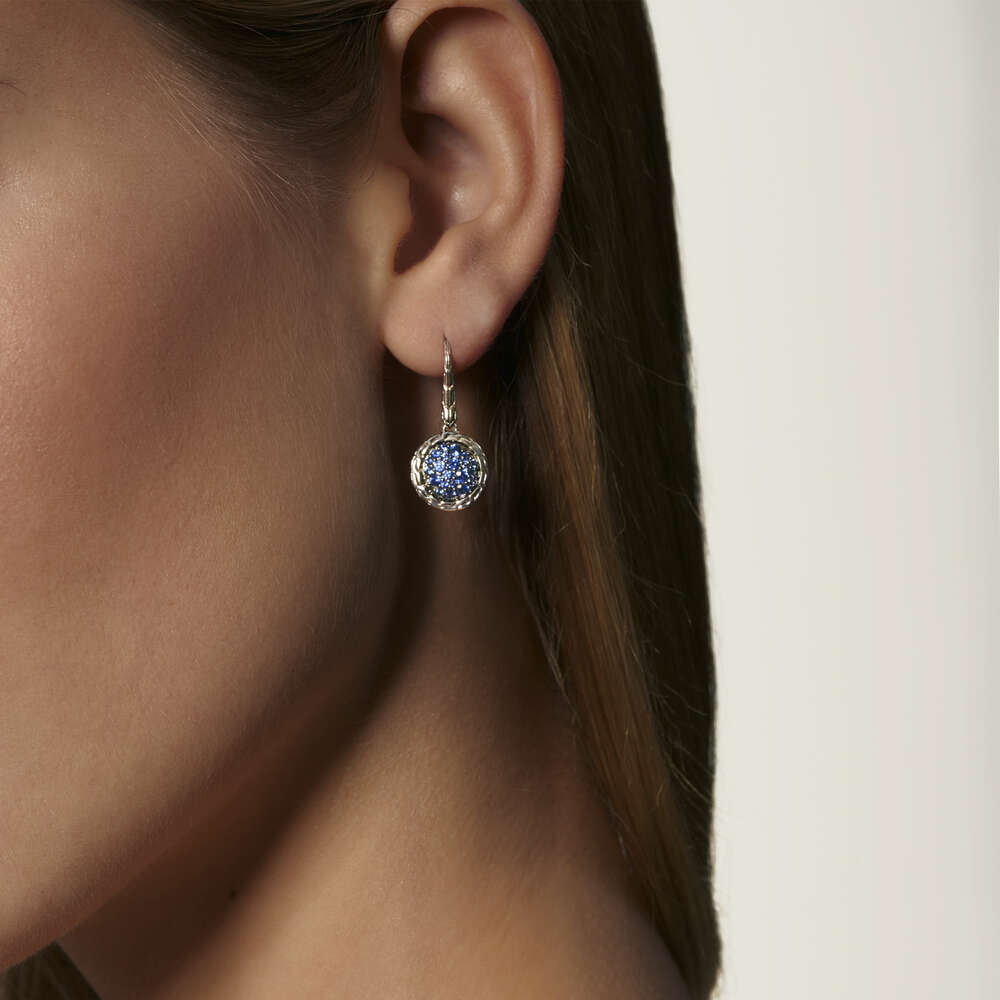 Classic Chain Drop Earring with Blue Sapphire