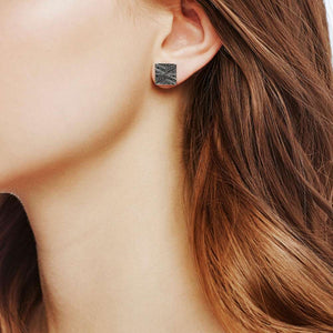 Modern Chain Stud Earring with Black Sapphire, Black Spinel