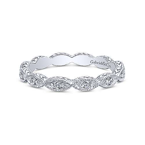 Scalloped Engraved Diamond Stackable Ring