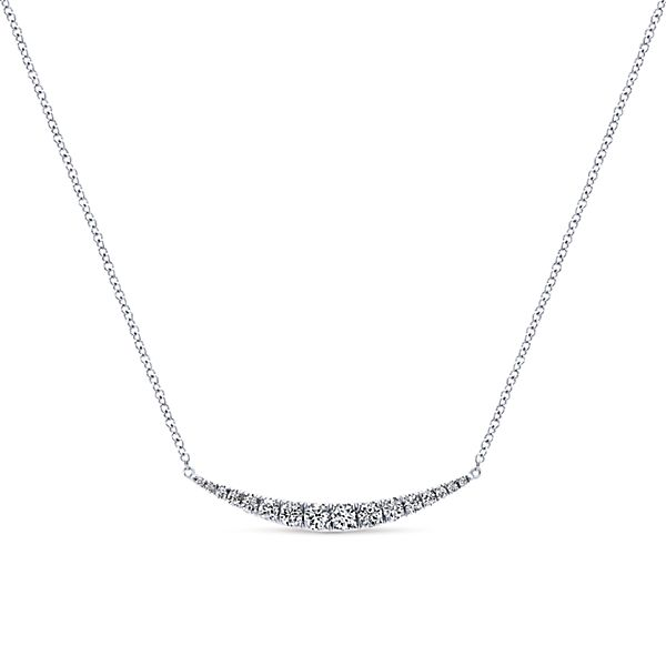 Curved White Gold Diamond Bar Necklace
