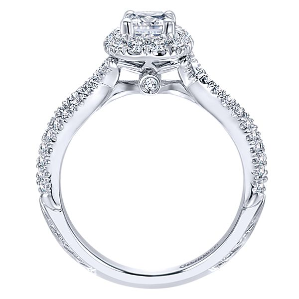 Vintage 14k White Gold Cushion Cut Halo