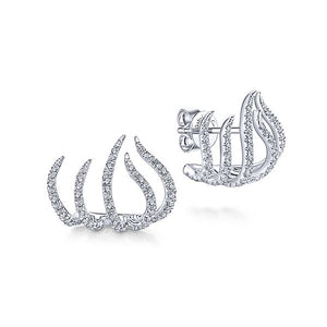 White Gold Tendril Stud Earrings