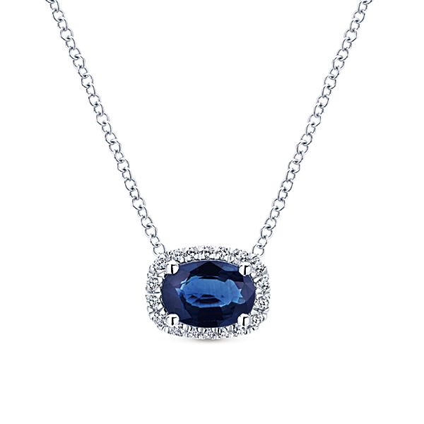 White Gold East West Oval Sapphire Diamond Halo Necklace