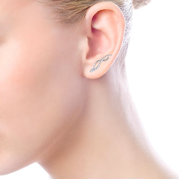 White Gold Ear Climber Earrings