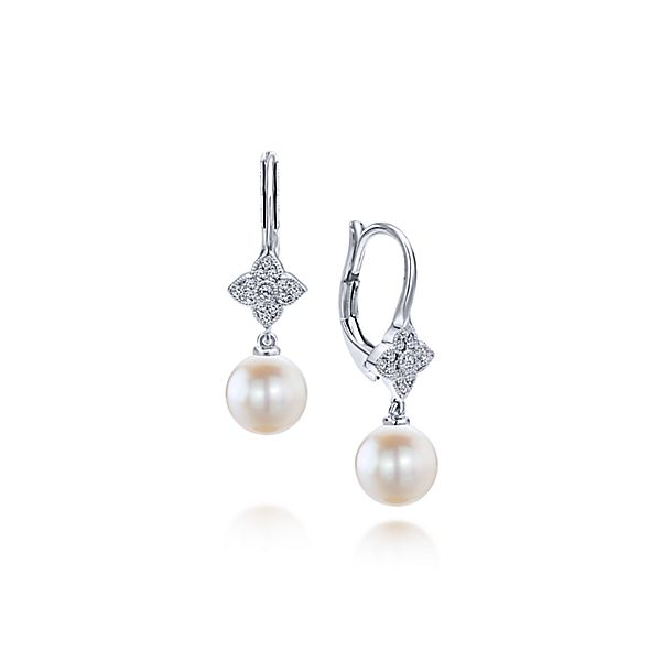 White Gold Drop Cultured Pearl Earrings