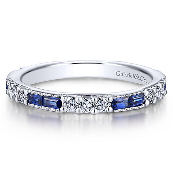 White Gold Stackable A Quality Sapphire Ladies Ring