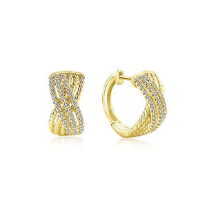 Yellow Gold Twisted Criss Cross Diamond Huggie Earrings