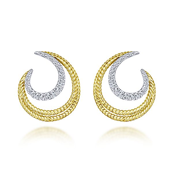 Yellow/White Gold Twisted Crescent Diamond Stud Earrings