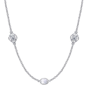 36 Inch Silver Rock Crystal Station Necklace