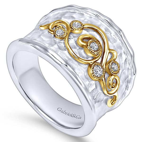 Silver/Yellow Gold Wide Band Ladies Ring