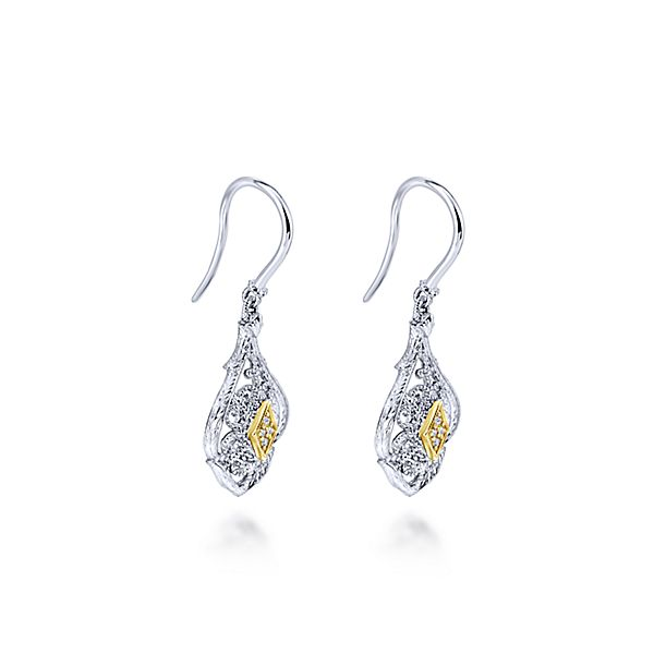Vintage Silver/Yellow Gold Drop Earrings