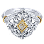 Vintage Silver/Yellow Gold Fashion Ladies Ring