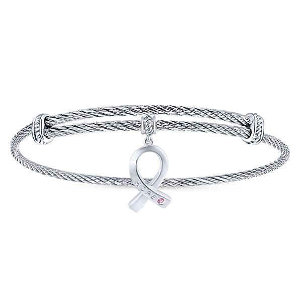 Silver/Stainless Steel Round Charm Pink Created Zircon Bangle