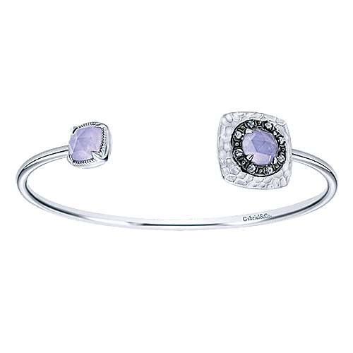 Hammered Rock Crystal / Purple Jade and White Sapphire Open Bangle