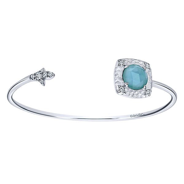 Silver Round Multi Color Stones Bangle