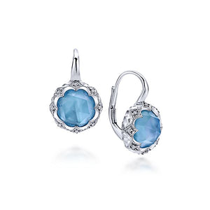 Silver Drop Multi Color Stones Earrings