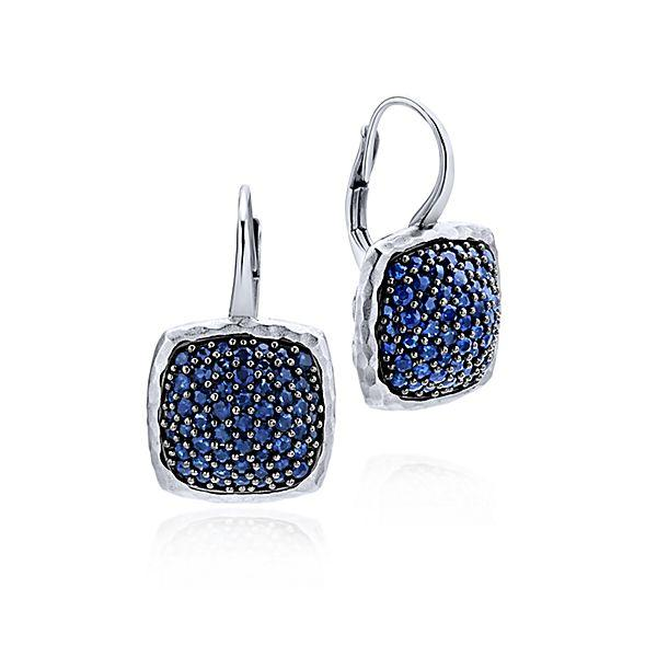 Silver Drop Sapphire Earrings