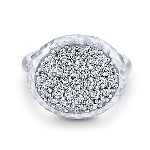 Silver Fashion White Sapphire Ladies Ring