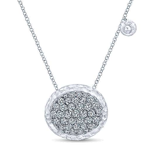 Fashion White Sapphires Disc Necklace