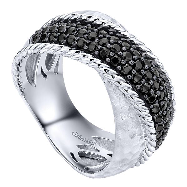 Silver White Band Black Spinel Ladies Ring