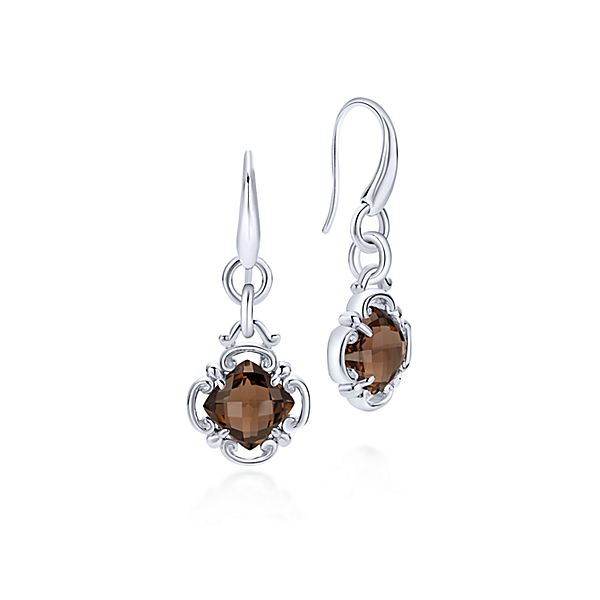 Vintage Silver Drop Smoky Quartz Earrings