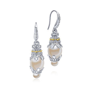 Sterling Silver/Yellow Gold Vintage Inspired Pear Drop Earrings