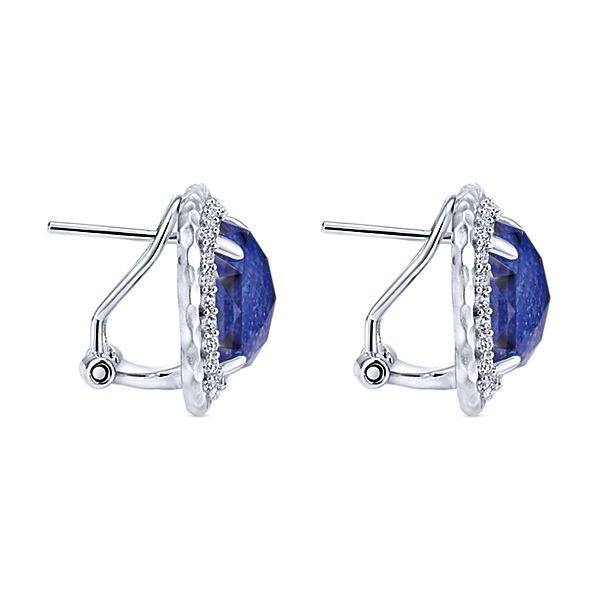Sterling Silver Multi Color Stones Stud Earrings