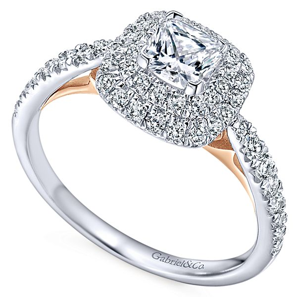 14k White/Rose Gold Cushion Cut Double Halo