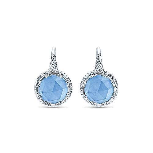 Round Rock Crystal/Blue Jade Drop Earrings