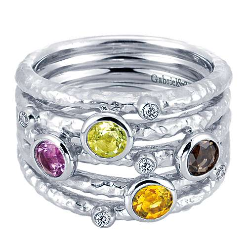 Silver Fashion Ladies Ring with Multiple Stones