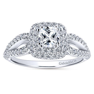 14k White Gold Cushion Cut Double Halo