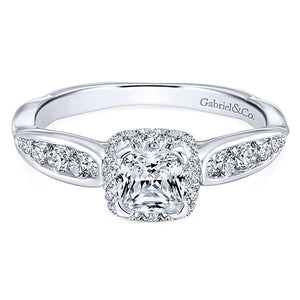 14k White Gold Cushion Cut Halo
