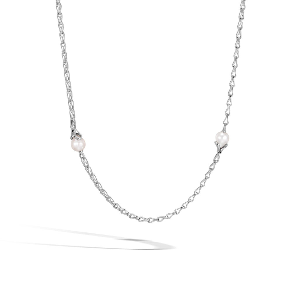 Station Necklace with White Fresh Water Pearl