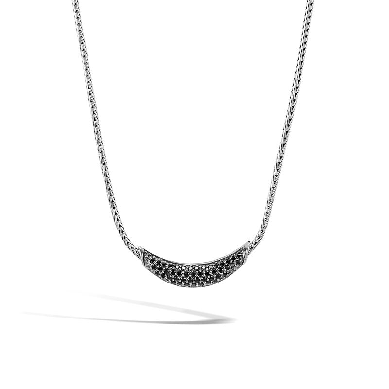 Classic Chain Necklace with Black Sapphire, Black Spinel