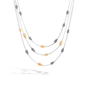 Classic Chain Hammered Multi Row Necklace