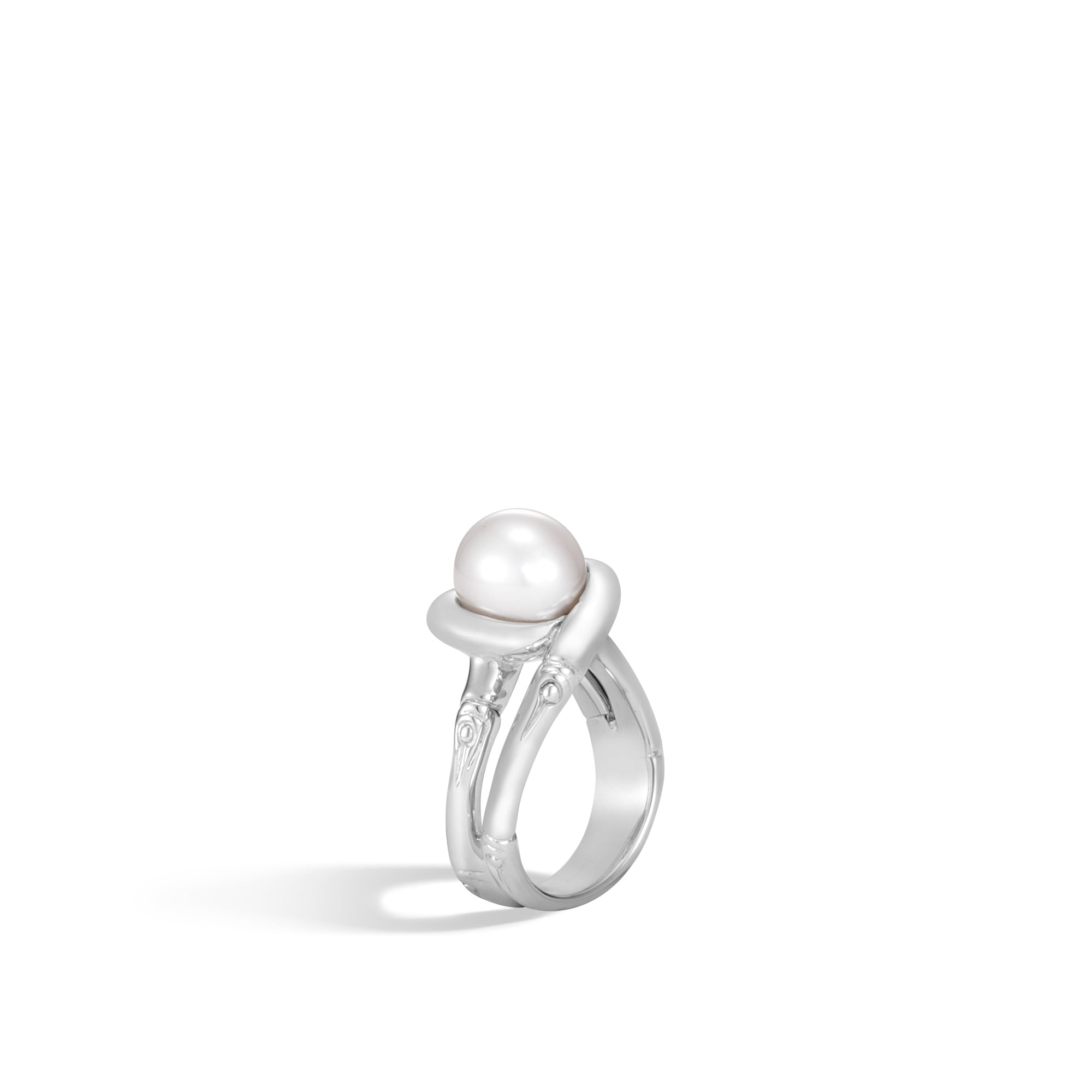 Bamboo Ring with White Fresh Water Pearl
