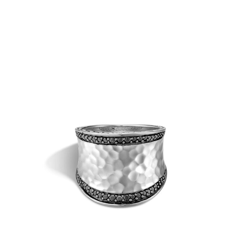 Hammered Saddle Ring with Black Sapphire and Spinel