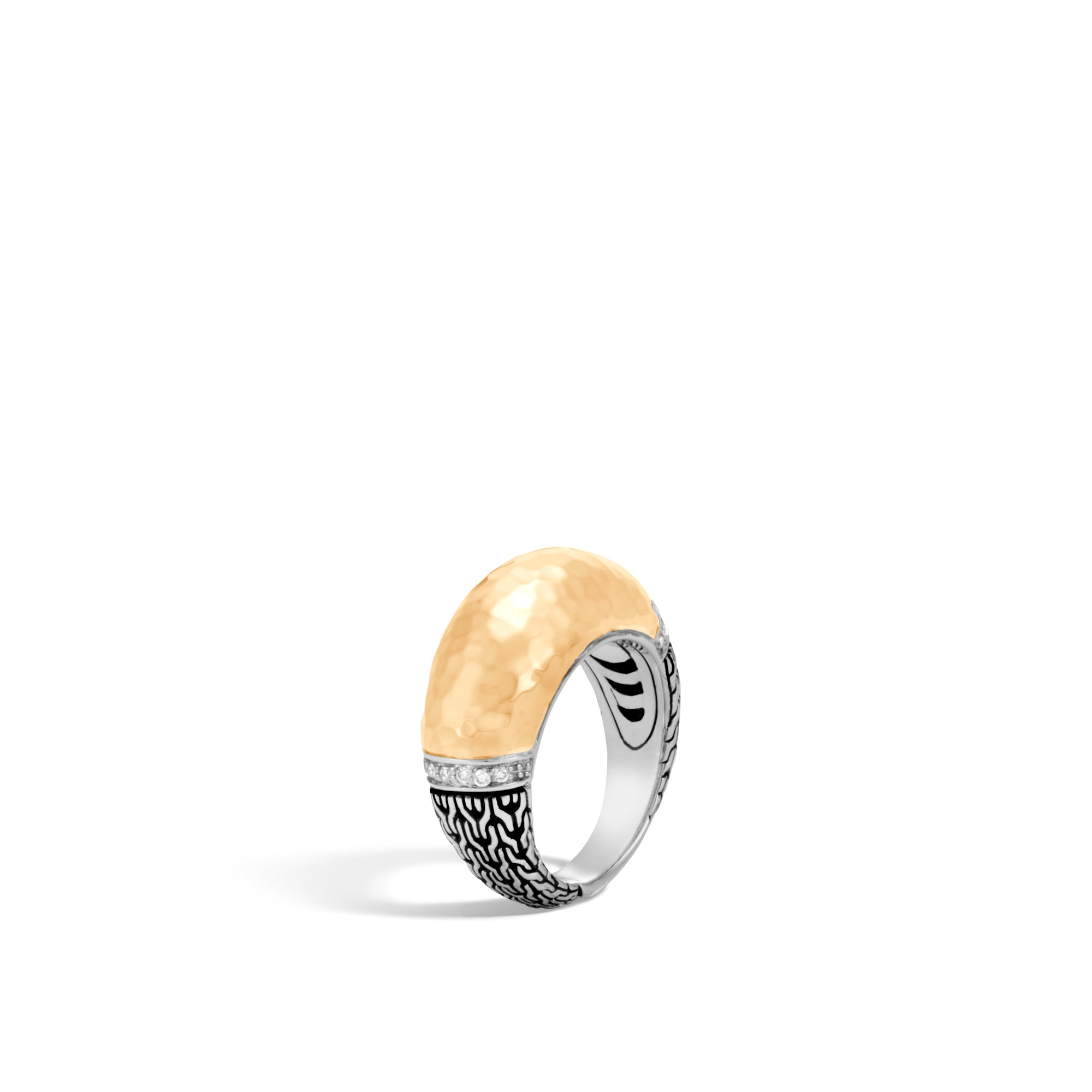 Classic Chain Hammered Dome Ring with Diamonds