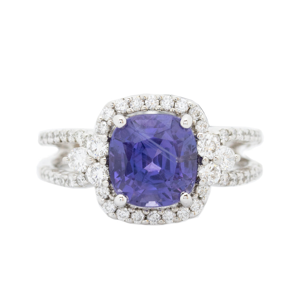 Purple Sapphire & Diamonds Ring