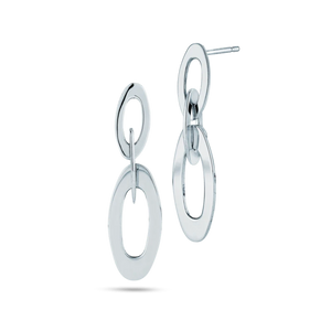 Chic & Shine White Gold Mini Oval Link Earrings