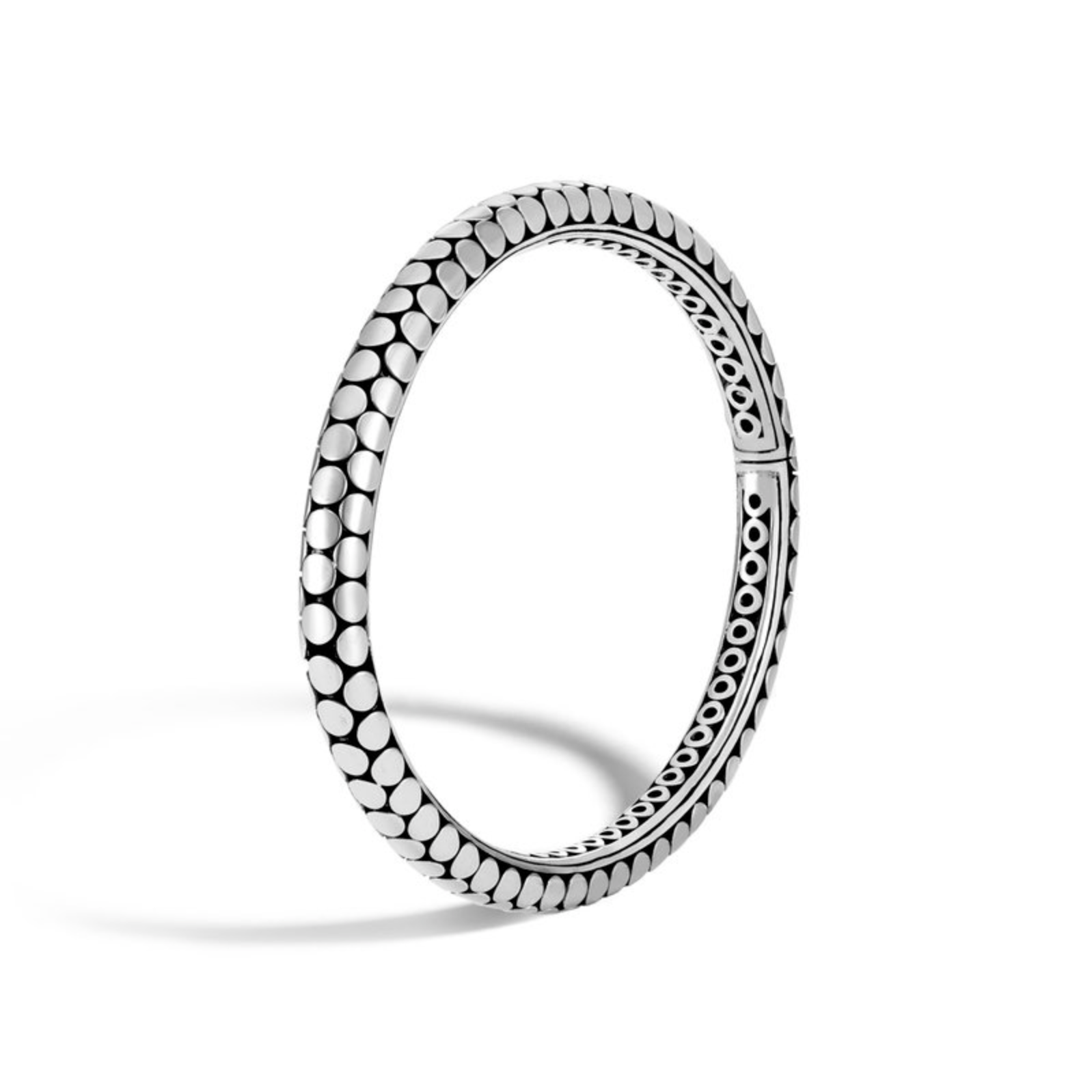 Dot Silver Hinged Bangle