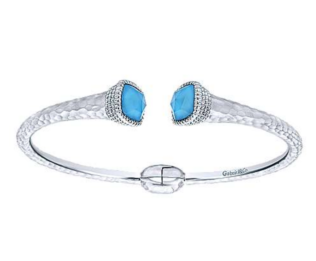 Rock Crystal & Turquoise Bangle