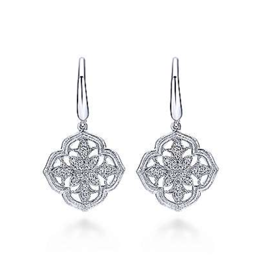 Silver Drop Diamond Earrings