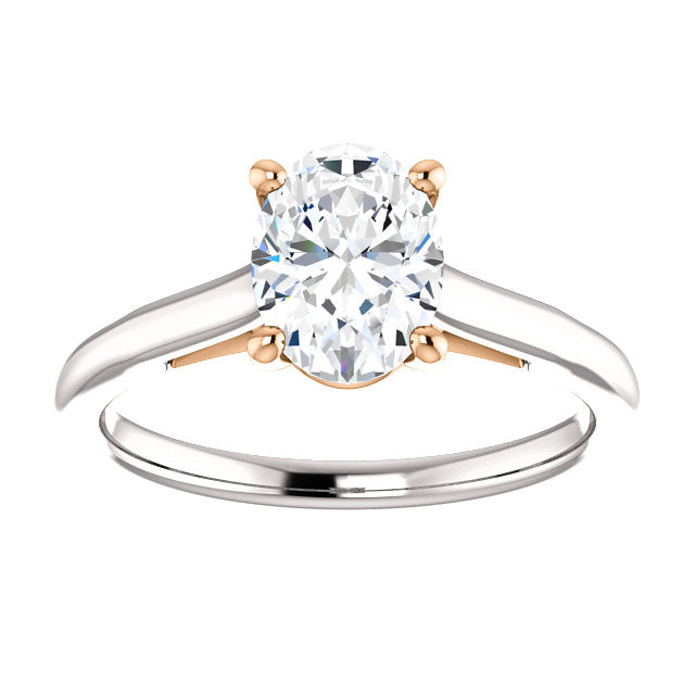 White & Rose Oval Solitaire Engagement Ring