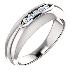 Diamond Men's Ring 1/6 CTW Silver / Gold / Platinum