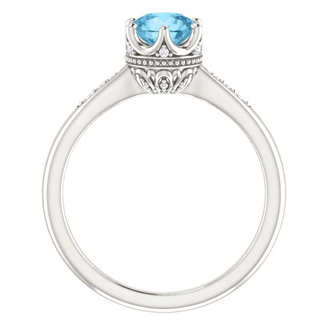 Blue Topaz & Diamonds Ring