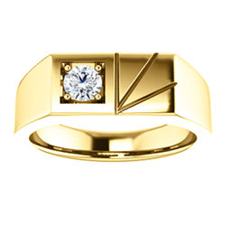 Diamond Men's Ring .33 CT Silver / Gold / Platinum