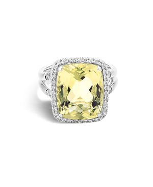 Batu Classic Chain Silver Diamond Ring with Lemon Quartz