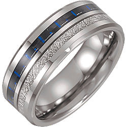 Tungsten Band with Meteorite & Carbon Fiber Inlay