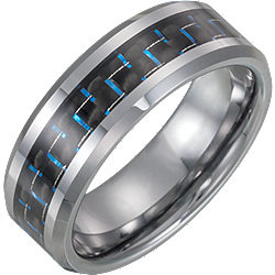 Tungsten 8mm Band with Black Carbon Fiber Inlay